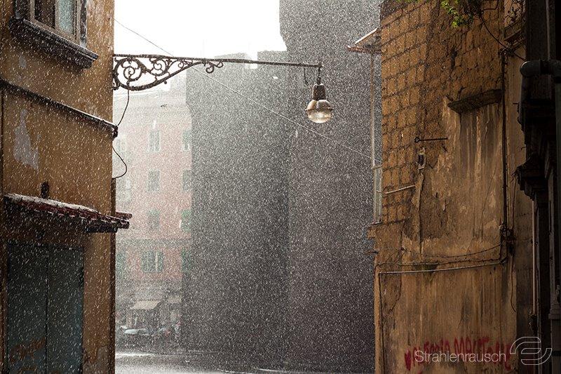 Naples while rain